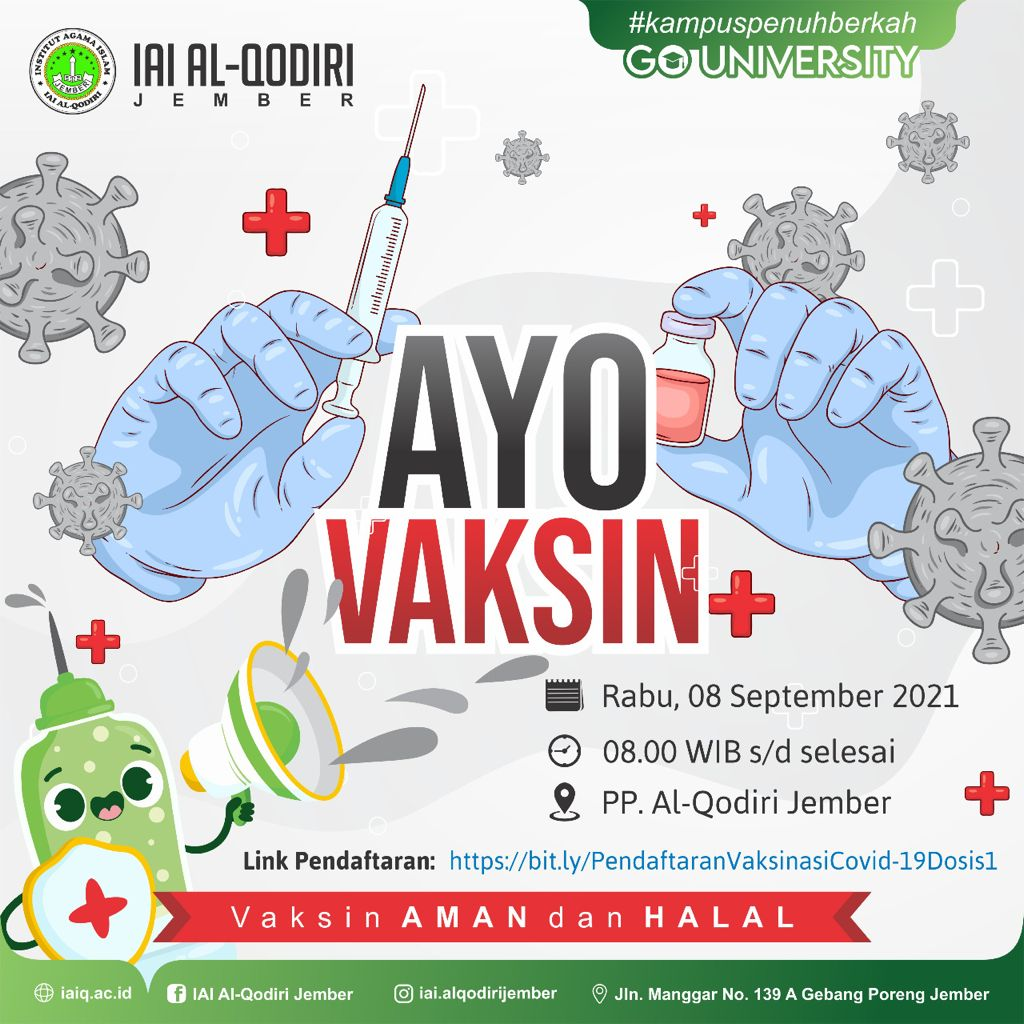 IAI Al-Qodiri Jember Menyukseskan Serbuan Vaksin Santri, PP. Al Qodiri bekerjasama dengan Pangkalan Utama TNI AL V